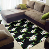 Hummingbird with Flower Pattern Print Design 03 Area Rug