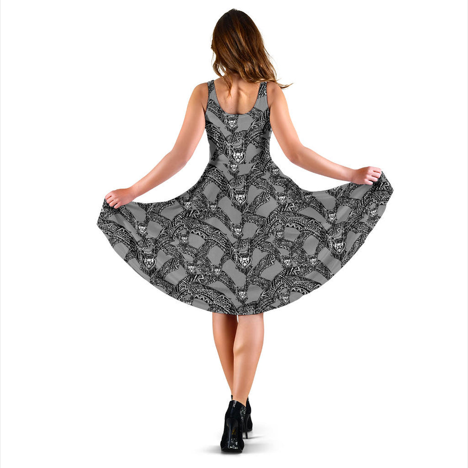 Bat Pattern Print Design 04 Sleeveless Mini Dress