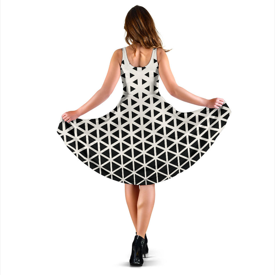 Geometric Black White Pattern Print Design 03 Sleeveless Mini Dress