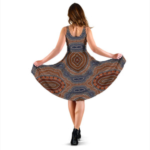 Aboriginal Pattern Print Design 01 Sleeveless Mini Dress