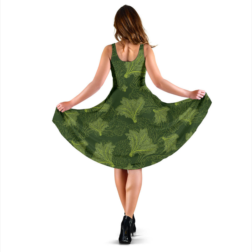 Kale Pattern Print Design 01 Sleeveless Mini Dress