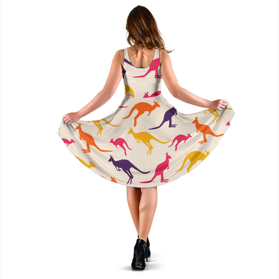 Kangaroos Pattern Print Design 01 Sleeveless Mini Dress