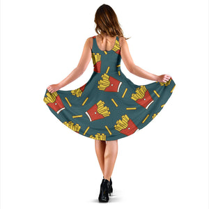 French Fried Pattern Print Design 04 Sleeveless Mini Dress