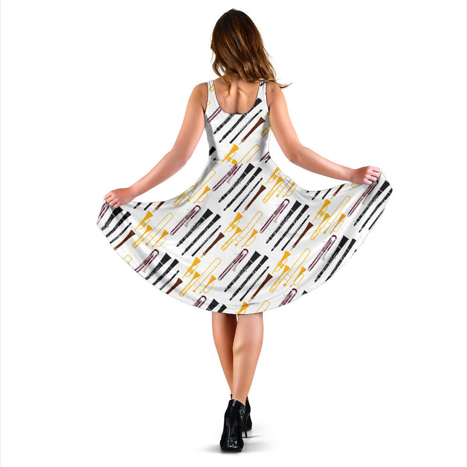 Clarinet Pattern Print Design 01 Sleeveless Mini Dress