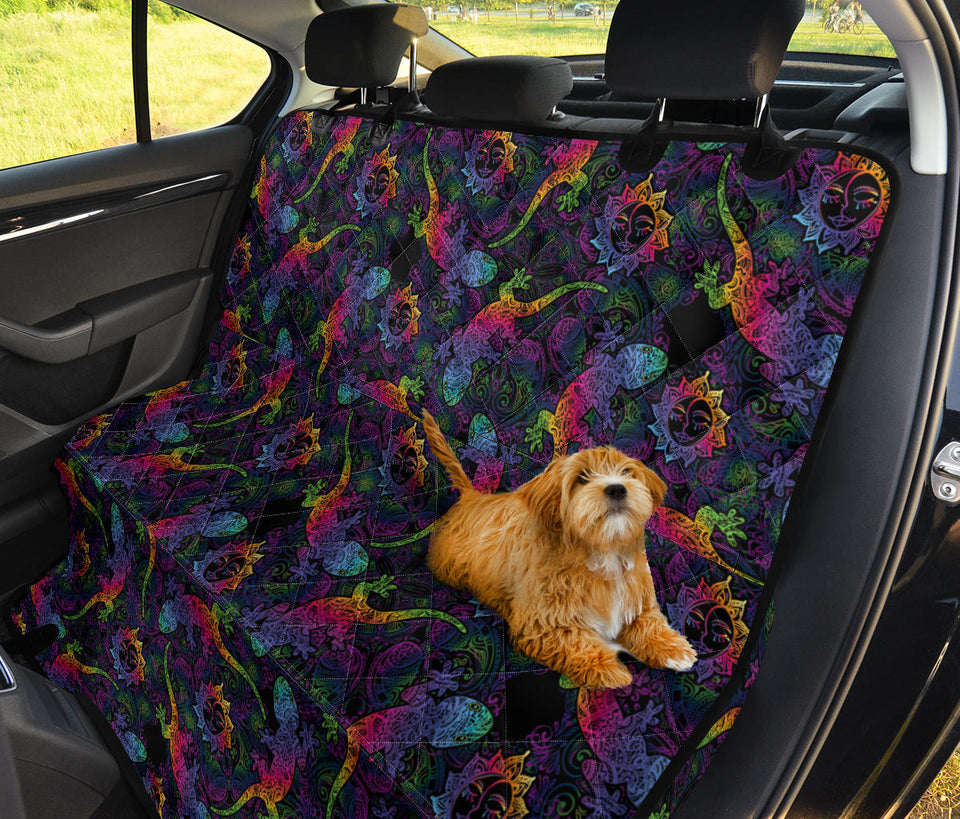 Gecko Rainbow Pattern Print Design 03 Rear Dog Car Seat Cover Hammock