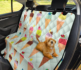 Ice Cream Pattern Print Design 03 Rear Dog Car Seat Cover Hammock