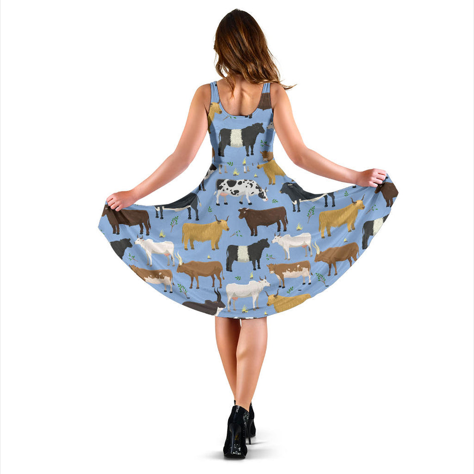 Cattle Pattern Print Design 02 Sleeveless Mini Dress