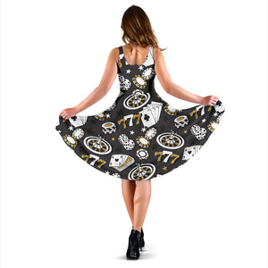Casino Pattern Print Design 05 Sleeveless Mini Dress