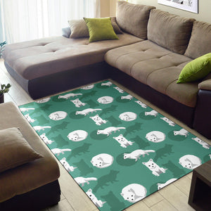Arctic Fox Pattern Print Design Area Rug
