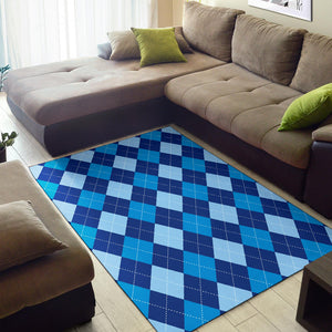 Argyle Blue Pattern Print Design 02 Area Rug