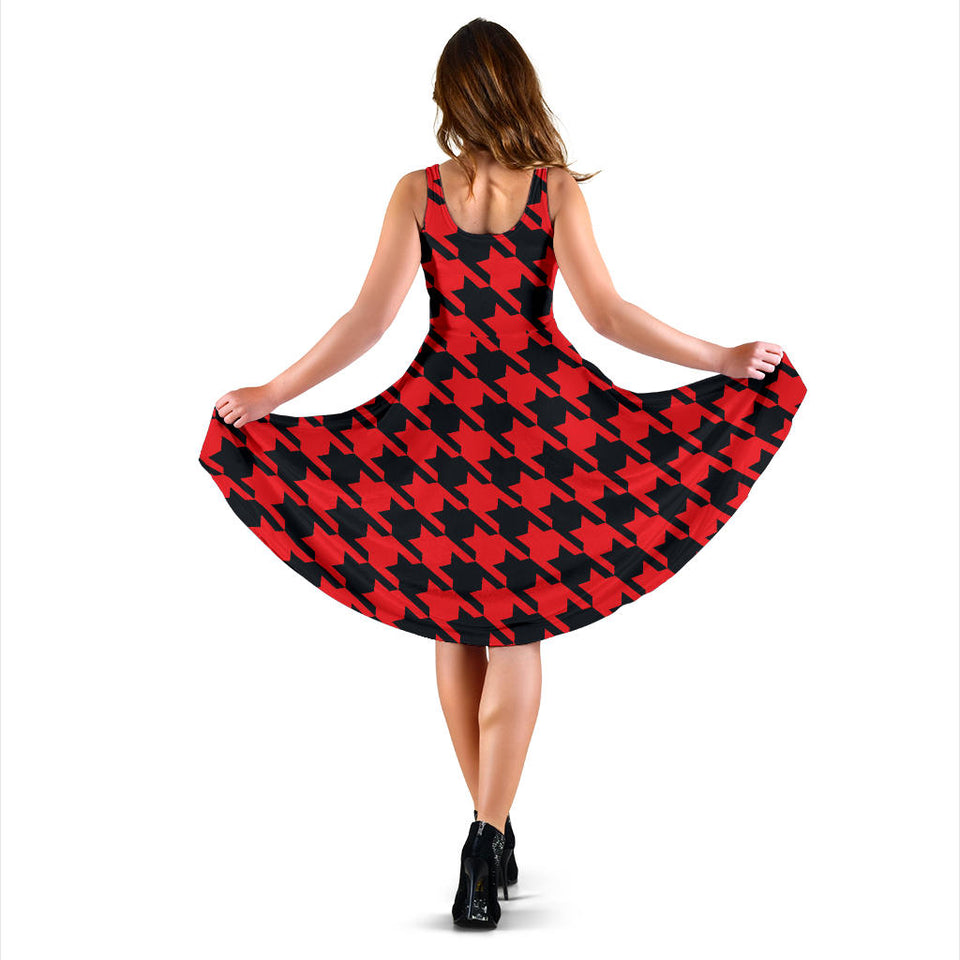 Houndstooth Red Pattern Print Design 03 Sleeveless Mini Dress