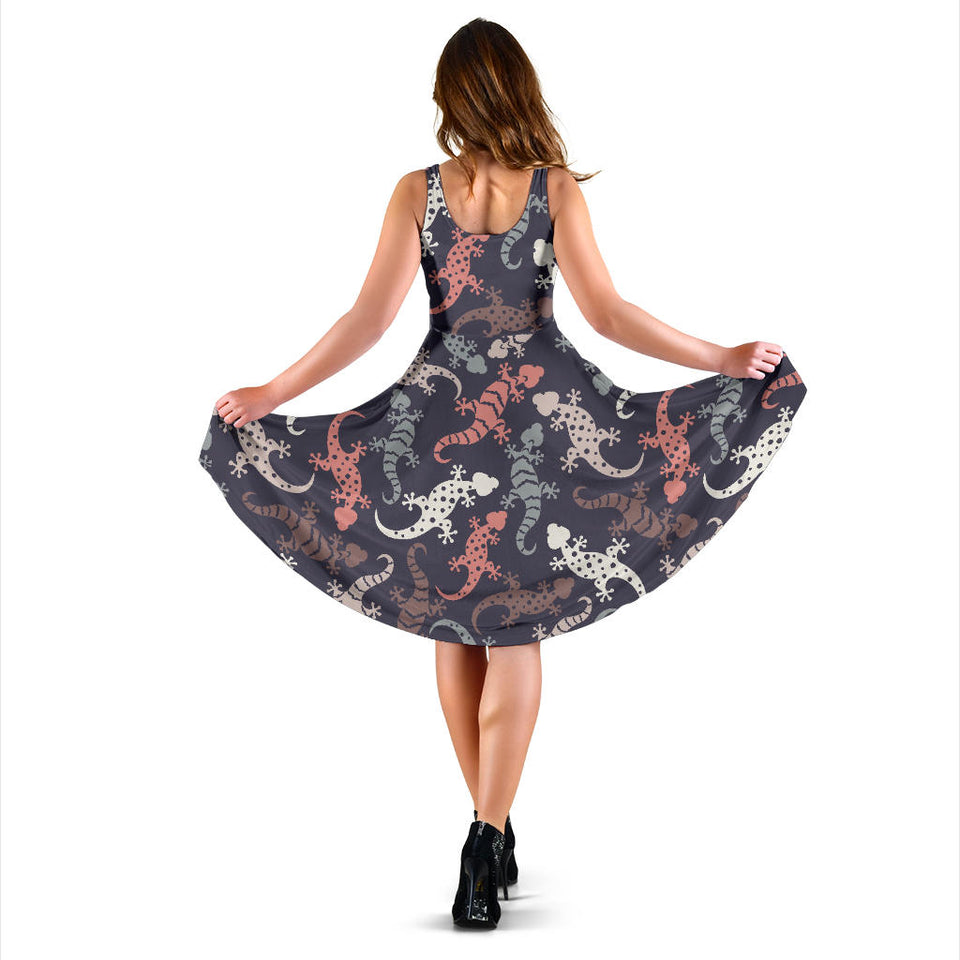 Gecko Pattern Print Design 02 Sleeveless Mini Dress