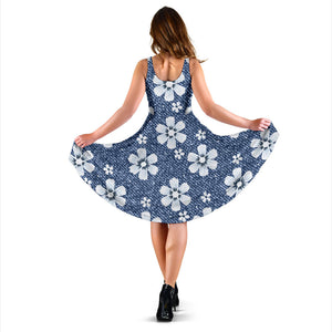 Jean Flower Pattern Print Design 03 Sleeveless Mini Dress