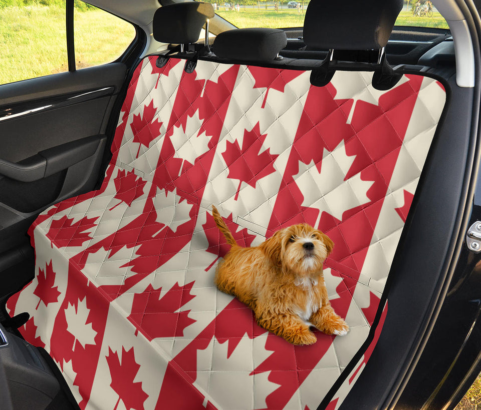 Maple Leaf Pattern Print Design 02 Rear Dog Car Seat Cover Hammock