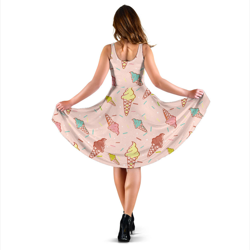 Ice Cream Pattern Print Design 02 Sleeveless Mini Dress