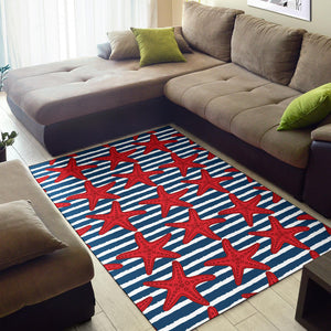 Starfish Red Pattern Print Design 02 Area Rug