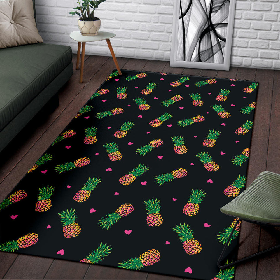 Neon Pineapple Pattern Print Design A04 Area Rug