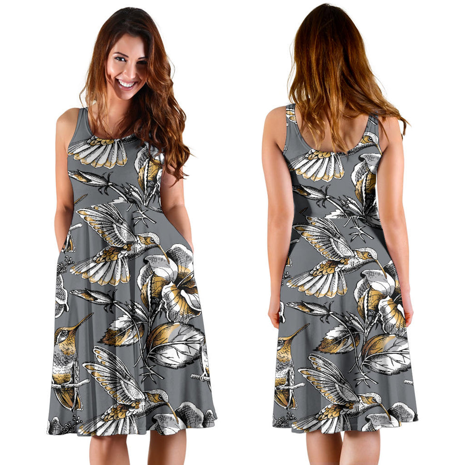 Hummingbird Pattern Print Design 02 Sleeveless Mini Dress