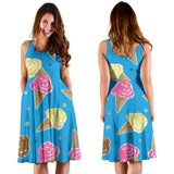 Ice Cream Pattern Print Design 01 Sleeveless Mini Dress