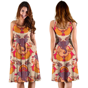 Ganesha Indian Pattern Print Design 02 Sleeveless Mini Dress