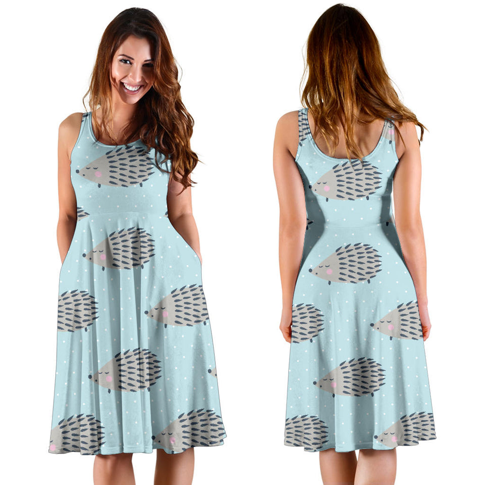 Hedgehog Pattern Print Design 02 Sleeveless Mini Dress