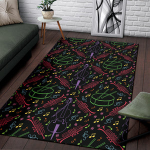 Cello Neon Pattern Print Design 02 Area Rug