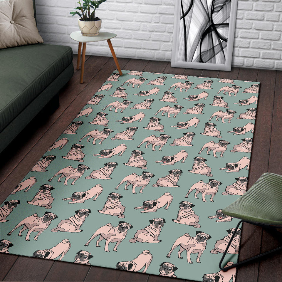Pug Pattern Print Design A01 Area Rug