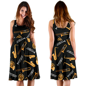 Jazz Pattern Print Design 01 Sleeveless Mini Dress