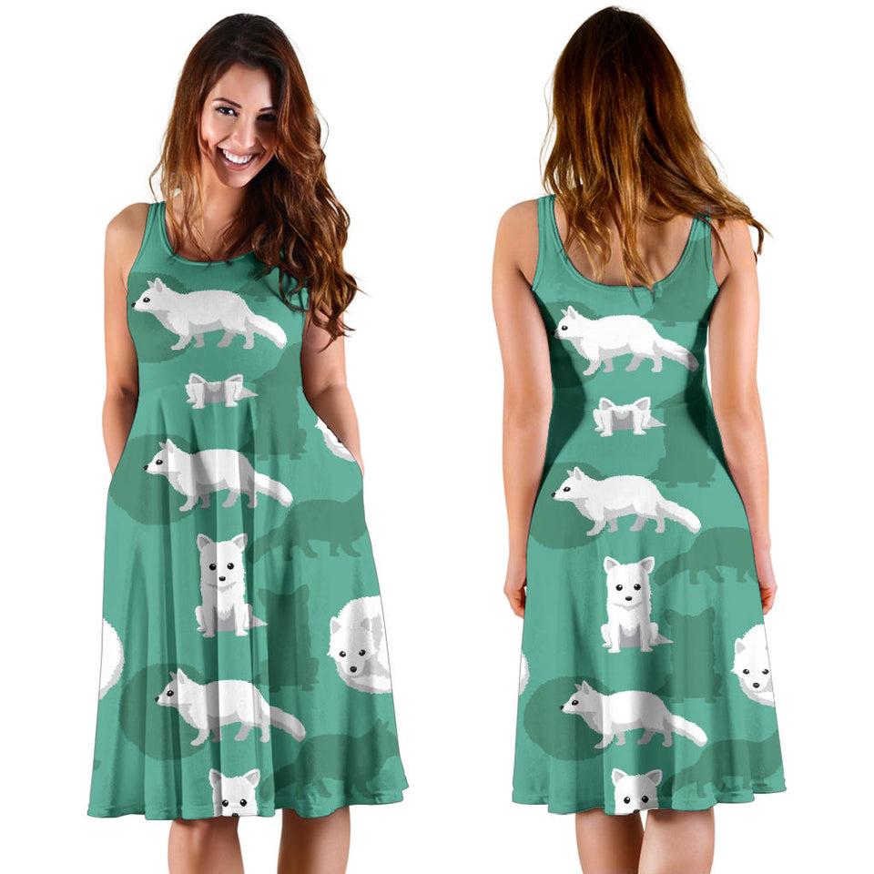 Arctic Fox Pattern Print Design Sleeveless Mini Dress