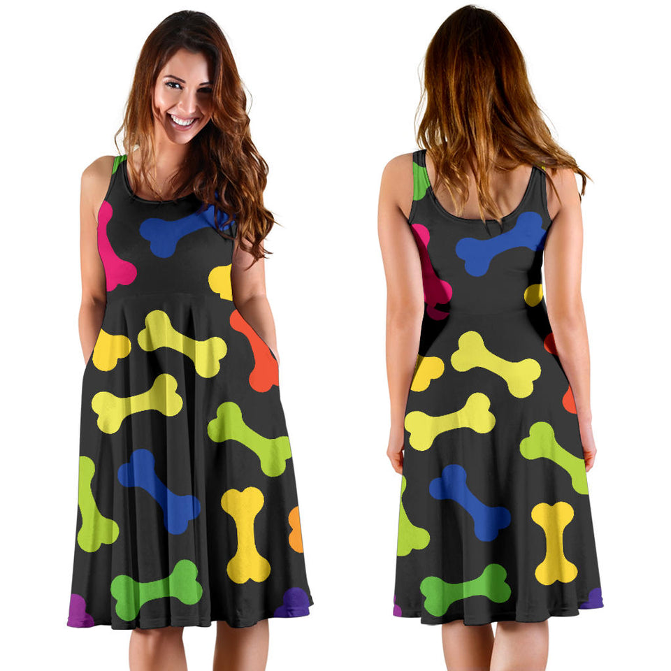Dog Bone Neon Color Pattern Print Design 02 Sleeveless Mini Dress