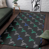 Motocross Pattern Print Design 02 Area Rug