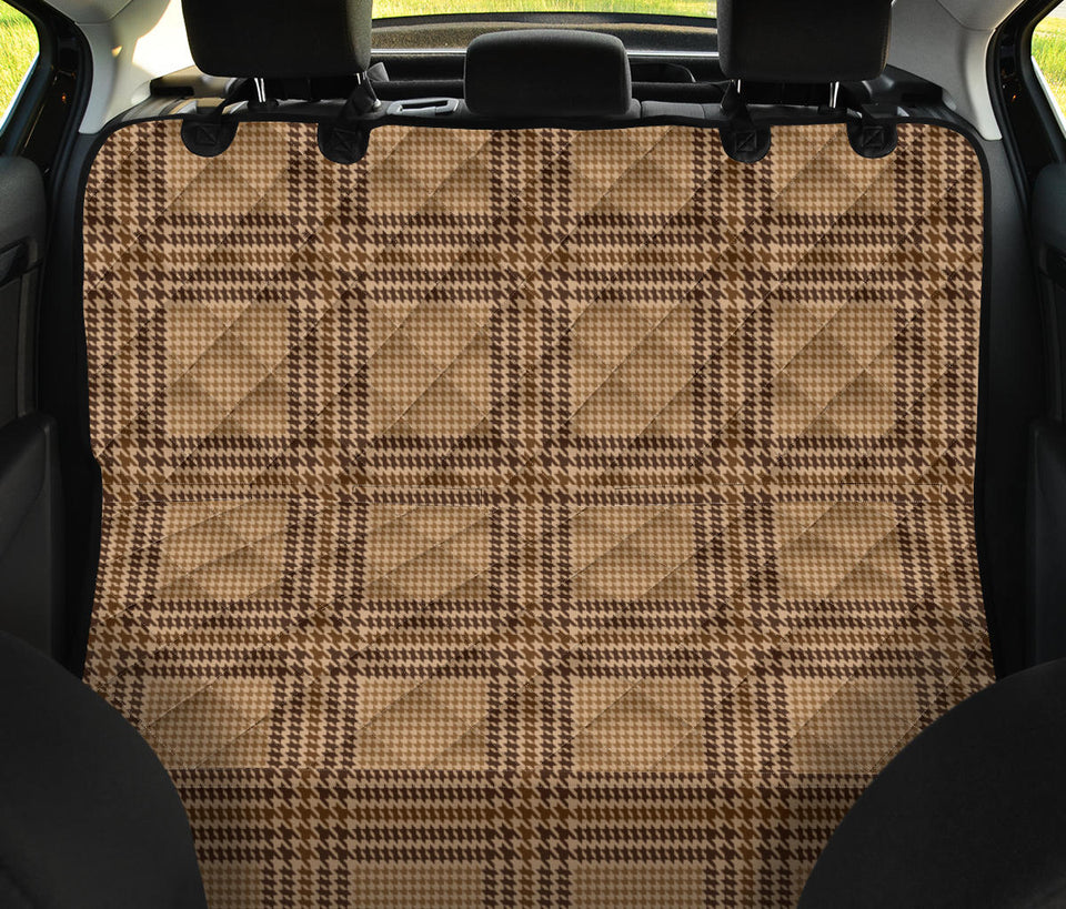 Houndstooth Brown Pattern Print Design 04 Rear Dog Car Seat Cover Hammock