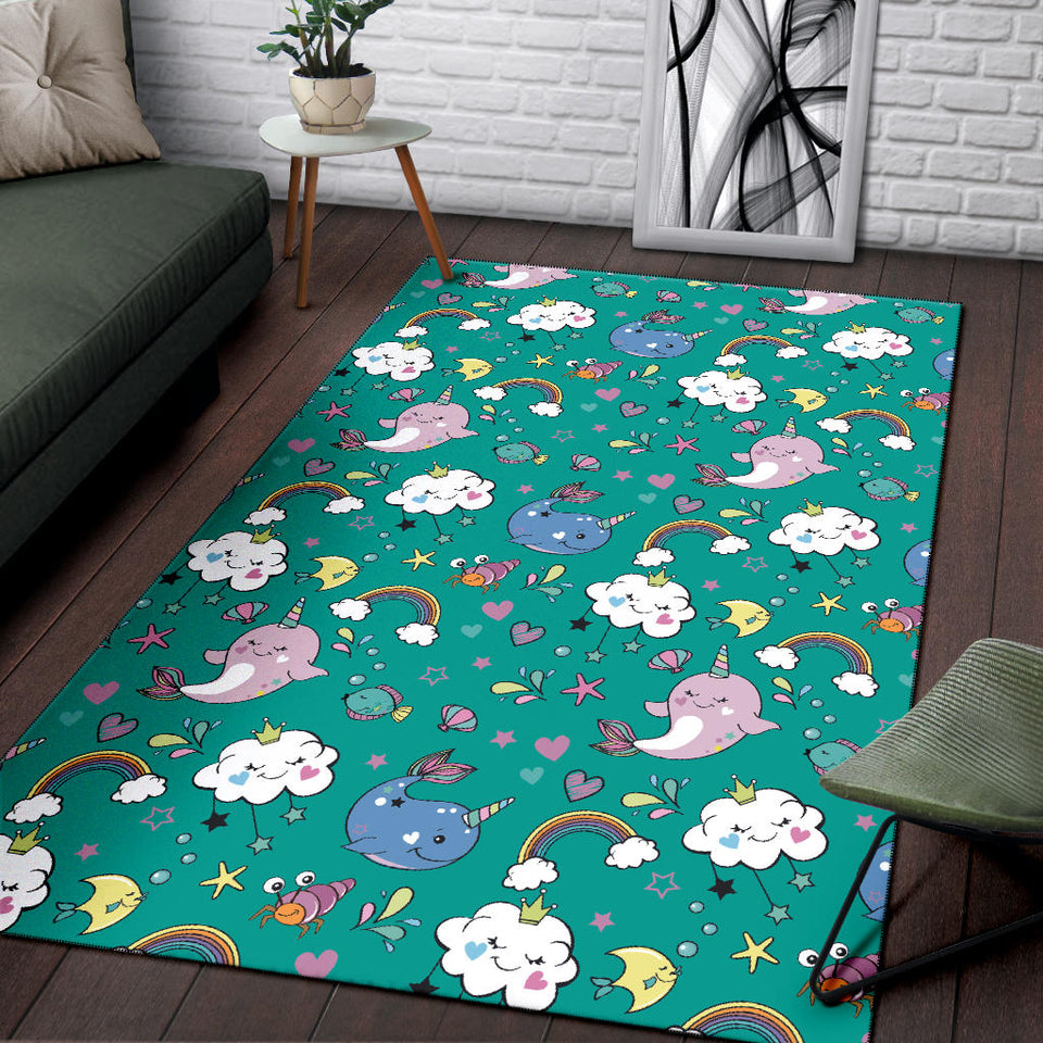 Narwhal Pattern Print Design 04 Area Rug