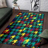 Houndstooth Colorful Pattern Print Design 02 Area Rug