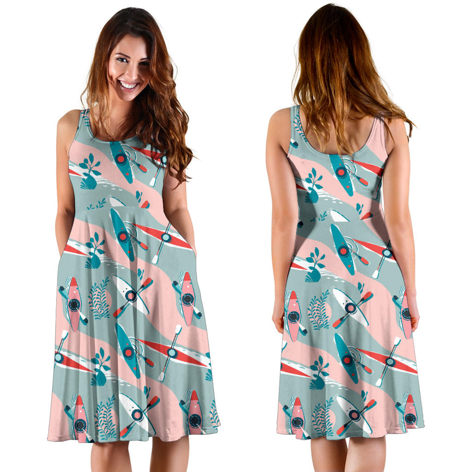 Kayak Pattern Print Design 05 Sleeveless Mini Dress