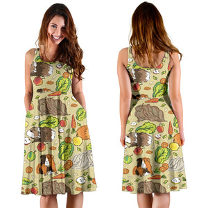 Guinea Pig Pattern Print Design 02 Sleeveless Mini Dress