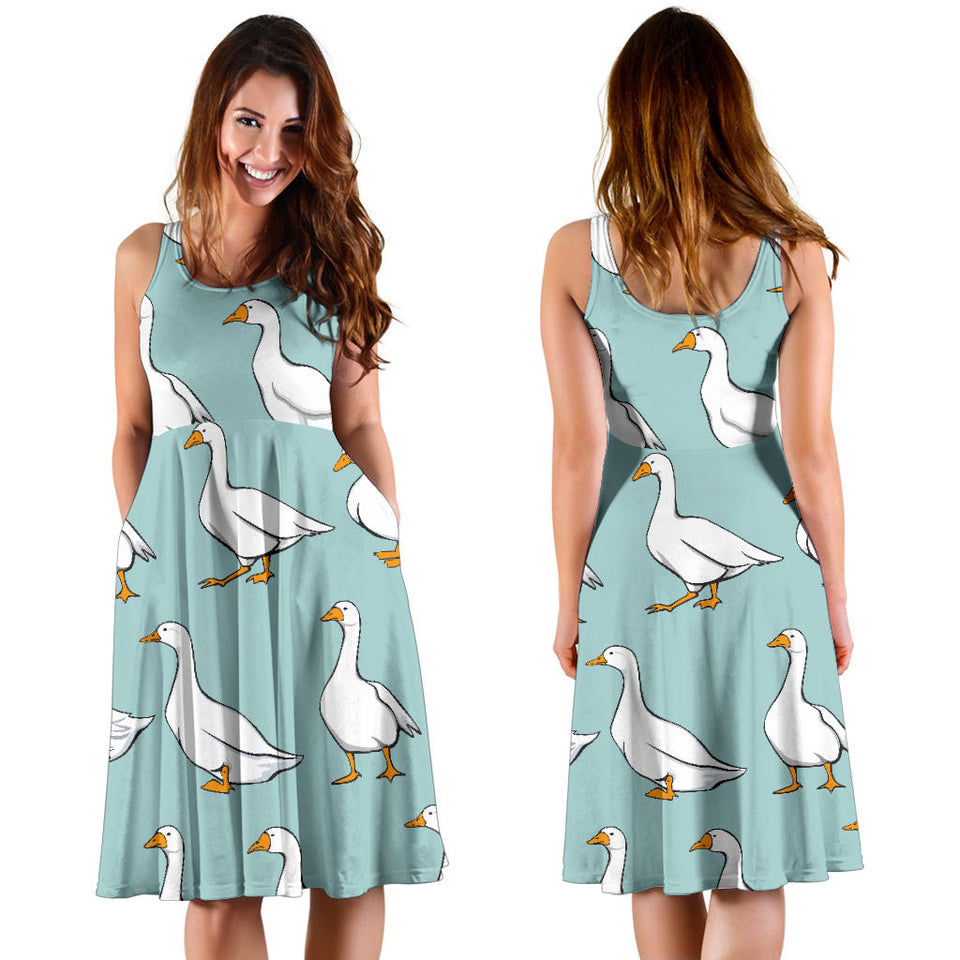 Goose Pattern Print Design 02 Sleeveless Mini Dress