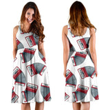 Accordion Pattern Print Design 03 Sleeveless Mini Dress