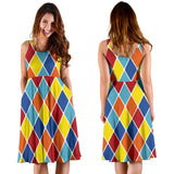 Harlequin Pattern Print Design 01 Sleeveless Mini Dress