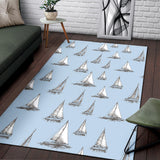 Sailing Ships Pattern Print Design A01 Area Rug