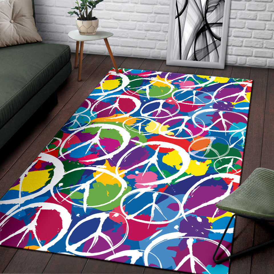 Peace Sign Colorful Pattern Print Design A02 Area Rug