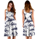 Great White Shark Pattern Print Design 02 Sleeveless Mini Dress