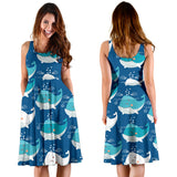 Blue Whale Pattern Print Design 01 Sleeveless Mini Dress
