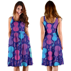 Cello Pattern Print Design 01 Sleeveless Mini Dress