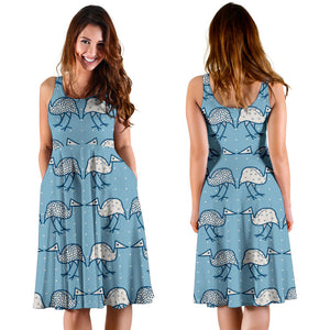 Emu Pattern Print Design 01 Sleeveless Mini Dress