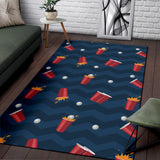 Beer Pong Pattern Print Design 01 Area Rug