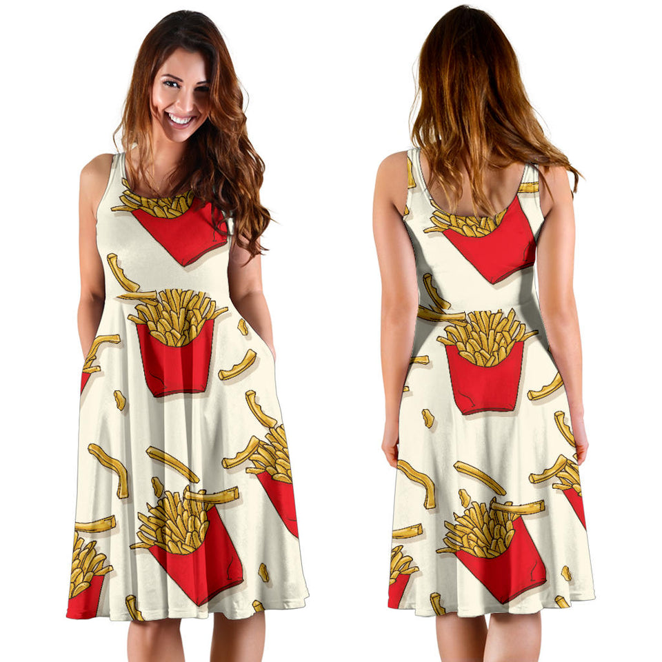 French Fried Pattern Print Design 01 Sleeveless Mini Dress
