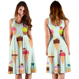 Ice Cream Pattern Print Design 03 Sleeveless Mini Dress