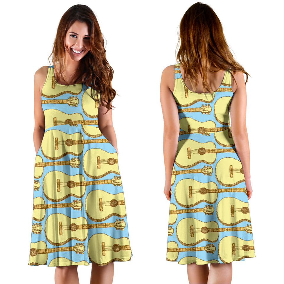 Acoustic Guitar Pattern Print Design 03 Sleeveless Mini Dress