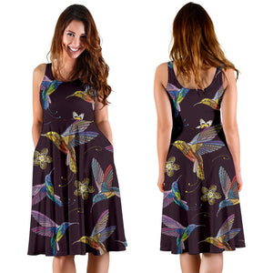 Hummingbird Pattern Print Design 04 Sleeveless Mini Dress